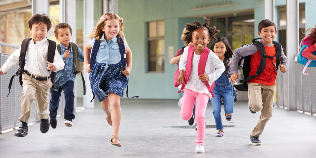 school kids running